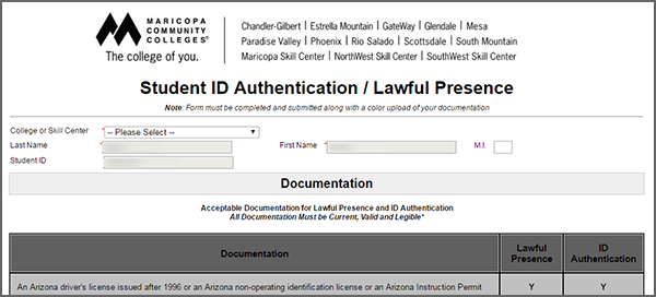 Student ID Authentication Form screenshot
